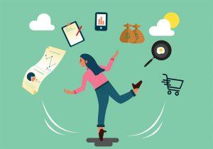 Illustration of women multitasking
