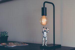 Star Ware figure under desktop light