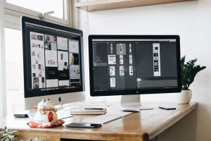 Desktop computers on desk